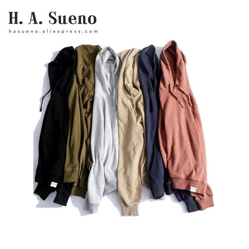 H. A. Sueno 2018 nouveau lâche fit solide hommes sweatshirts haute rue prix de gros pulls à capuche pour hommes goutte épaule vêtements de sport