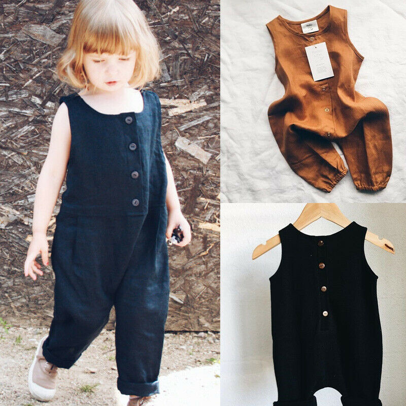 2019 Brand New Toddler Infant Newborn Kids Baby Girls Boys Summer   Romper   Solid Long Jumpsuit Sleeveless Clothes Cotton Outfits