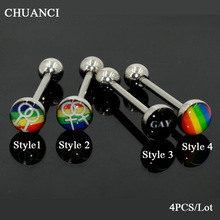 4 PCS Surgical Steel Tongue Sex Rainbow Gay Pride Logo Tongue Piercing Barbell Ring Fashion Body Tongue Piercing Unisex Jewelry цены