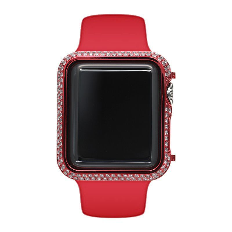 for Apple Watch band 4 Iwatch 1/3/2 42mm 38mm 44mm 40mm Red gold-plated case with diamond frame frame drop protection shell for Apple Watch band 4 Iwatch 1/3/2 42mm 38mm 44mm 40mm Red gold-plated case with diamond frame frame drop protection shell