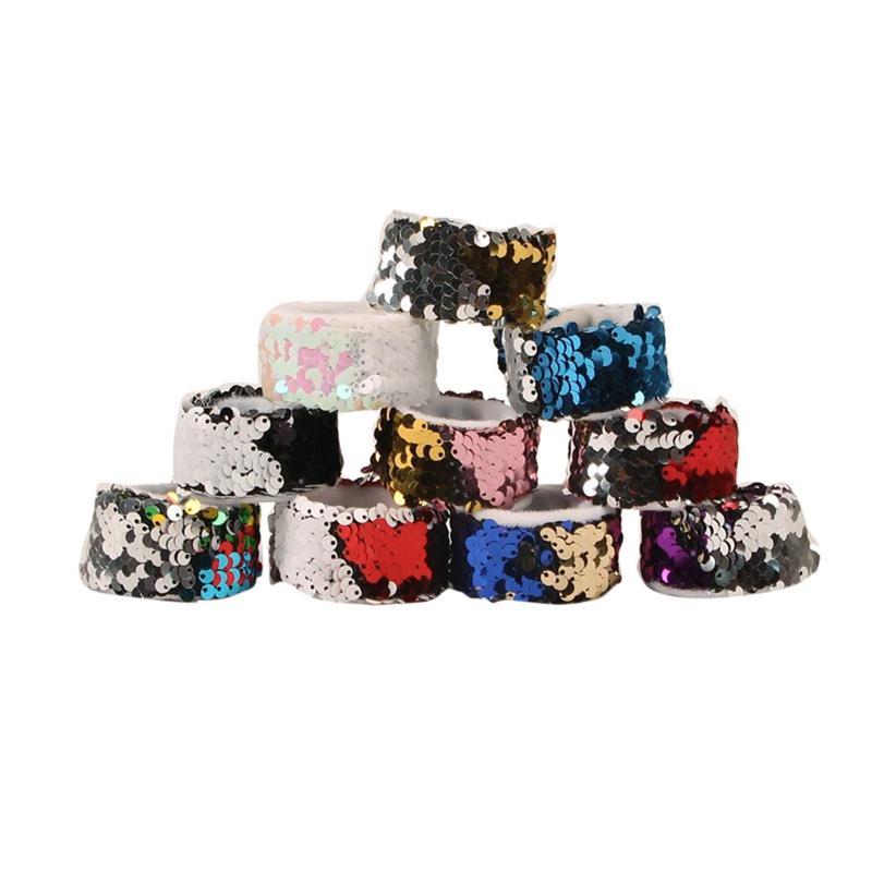 New Winter Women Bi-Color Reversible Sequined Bracelet Mermaid Innovative Bracelet Fashionable Cool Party Arm Warmers