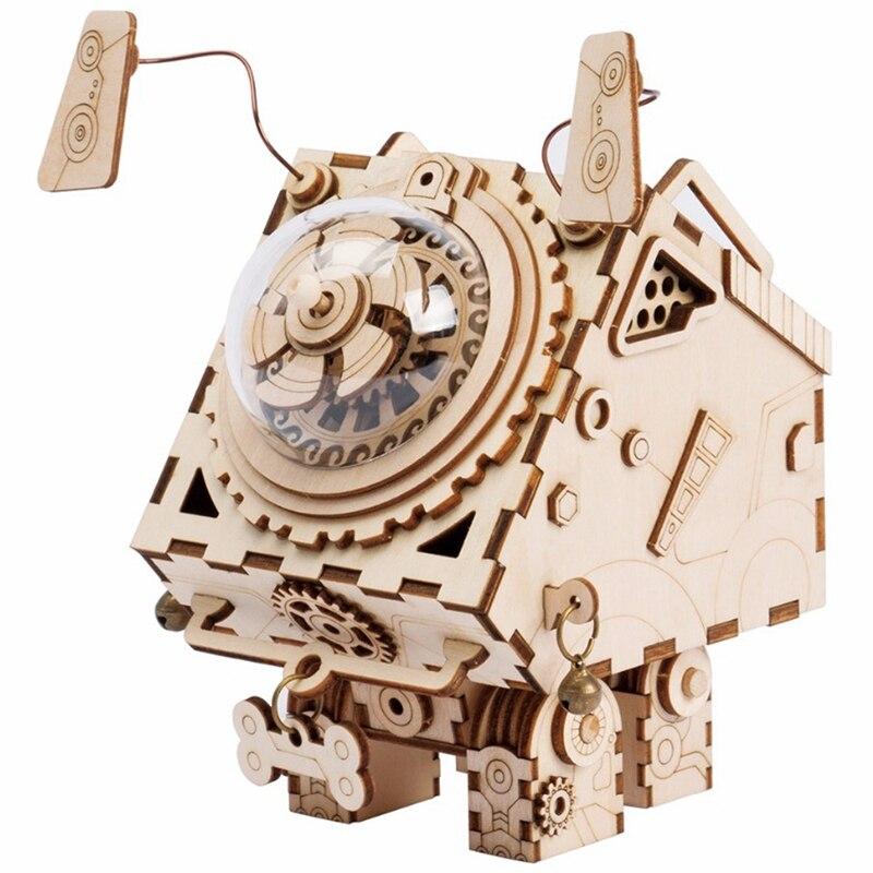 Robotime 3D Puzzle bricolage mouvement en bois chiens modèle jouets pour enfants fille garçons cerveau formation boîte à musique Seymour Am480