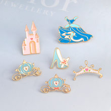 A Fairy Tale Girls Pin Brooch Cinderella Blue Dress Palace Pumpkin Carriage Crystal Shoes Princess Pins Collection for Children(China)