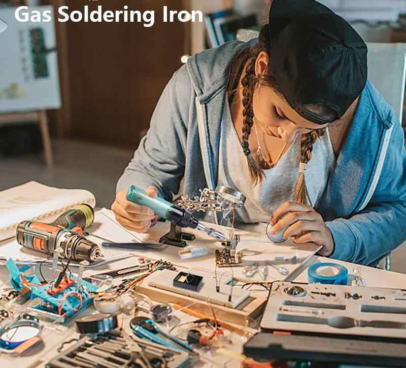 12 In 1 Kualitas Tinggi MT-100 Elektronik DIY Alat Gas Solder Besi Gun Blow Torch Tanpa Kabel Solder Besi Pena Butana gas Gun Kit