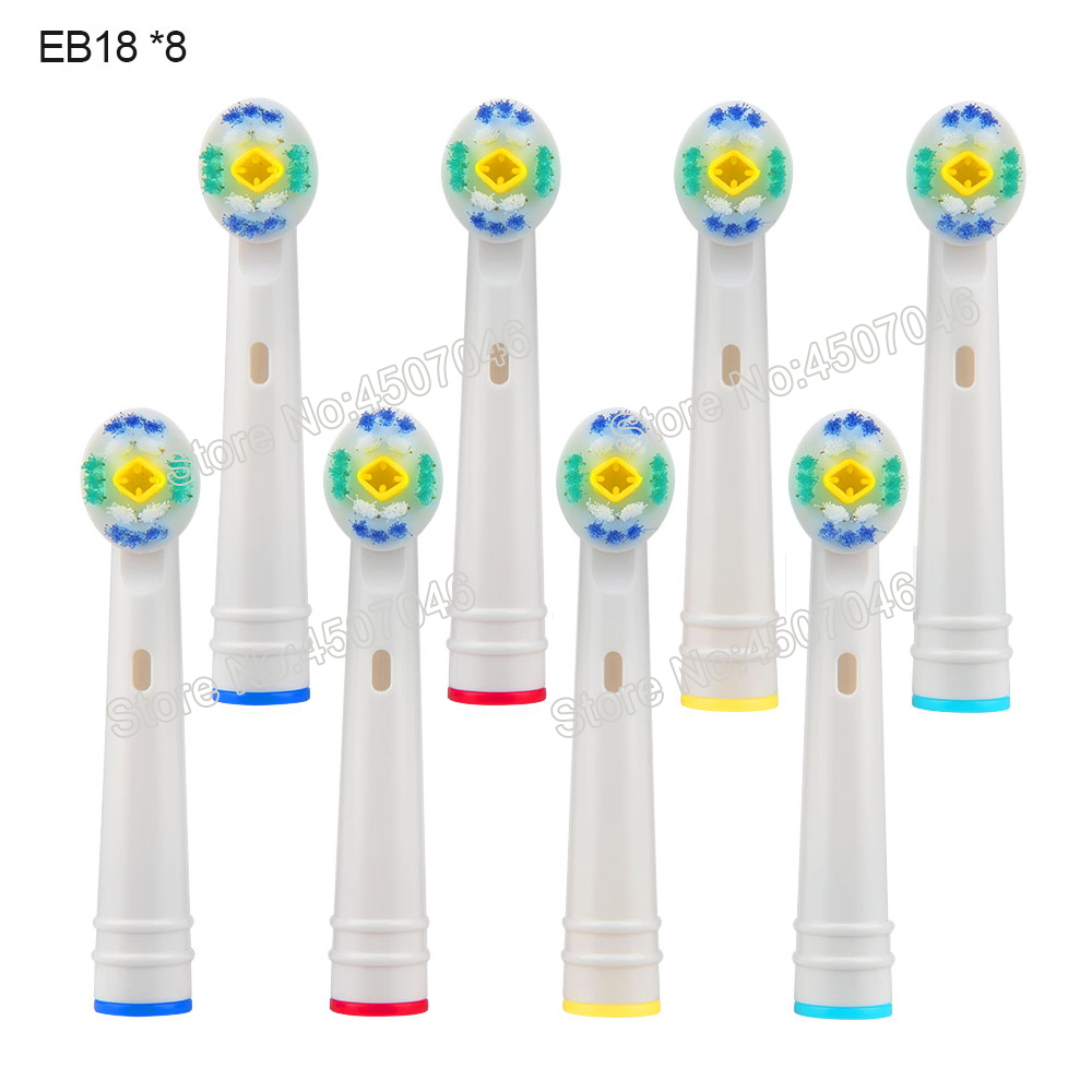 8PCS EB18 3D White Replacement Electric Toothbrush Heads For Braun Oral-B D12 D16 D18 pro1000/2000/3000/5000/7000/8000 etc image
