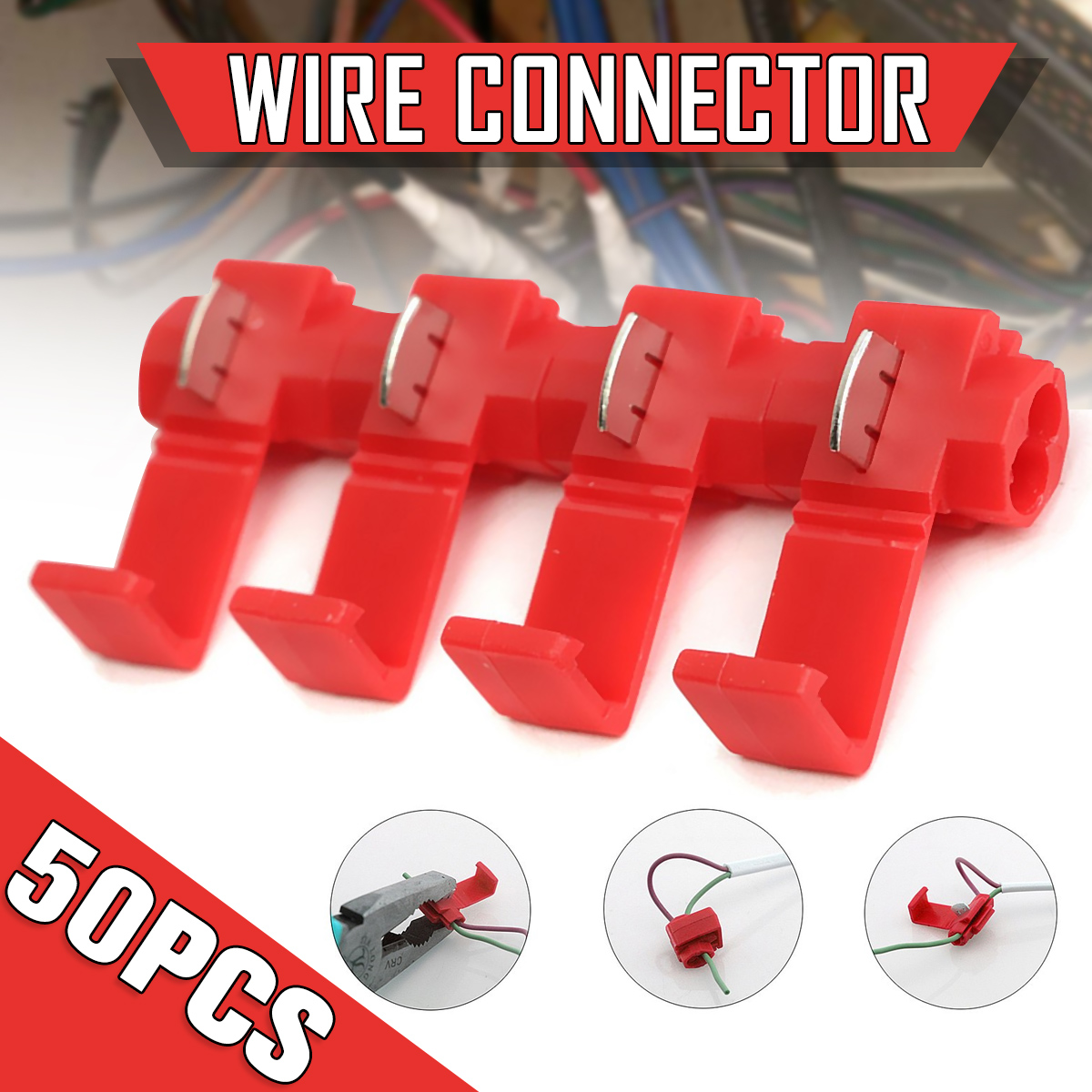 50x Lock Wire Electrical Cable Quick Splice Terminals Crimp Connector Red Insulated For Car Electrical Crimp Cable Snap