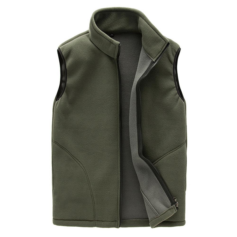 MISSKY Men Coat Solid Color Warm Full Zip Casual Fleece Vest Outdoor Climbing Hiking Gilets Waist Coat
