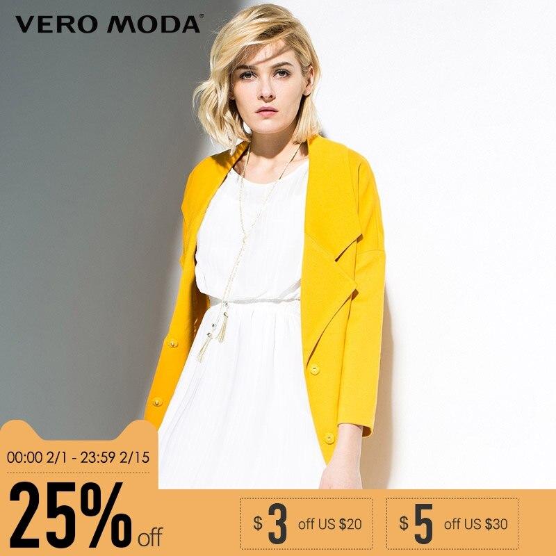 VEROMODA Марка 2018 Новинка женский тренч вискоза 72.6% нейлон 23.9% эластан 3.5% девять десятые рукава пуговицы два стильный фасон чистый цвет куртка ж...
