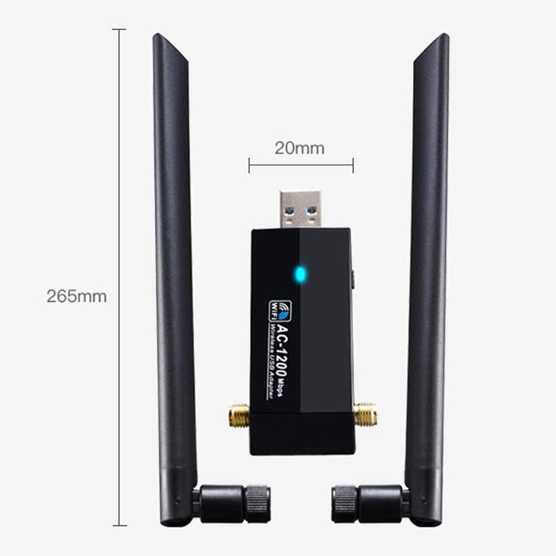 Mini USB WiFi Adapter 1200Mbps WiFi Dongle NIC Wi-Fi Receiver Wireless RTL8812AU 2.4GHz / 5GHz IEEE802.11ac / A / N / G / B Ethe