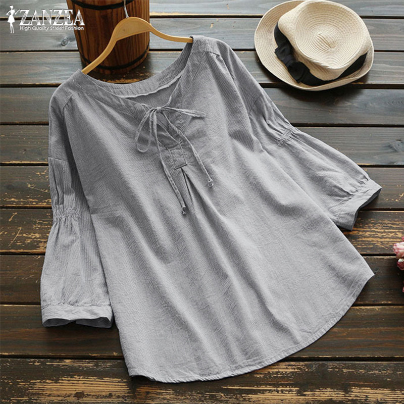 Top Fashion 2019 ZANZEA Summer Striped OL Chic Shirt Women Casual V Neck Loose Blouse Elegant 3/4 Lantern Sleeve Bow Tie Blusas