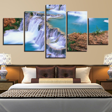 Modern Canvas Painting Wall Art Pictures 5 Pieces Lake Waterfall Mountain Natural Scenery Home Decor HD Printed Poster Framework