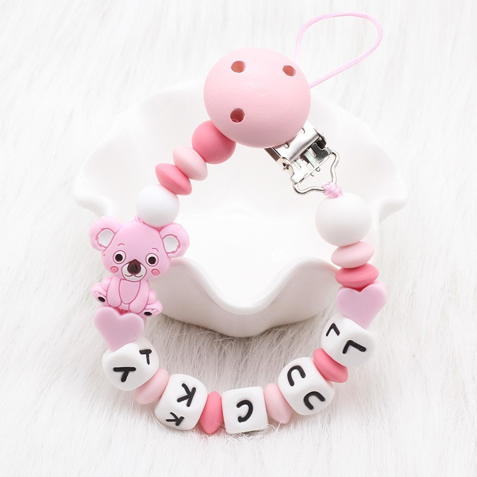 NEW 7 Colors Silicone Baby Pacifier Clip Personalised Name DIY Pacifier Chain Baby Teething Holder Soother Chew Toy Dummy Clips