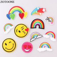 ZOTOONE Cartoon Rainbow LOVE Heart Sewing on Reversible Patches for Clothes Transfers Patch Accessory Girl Clothing Decor E
