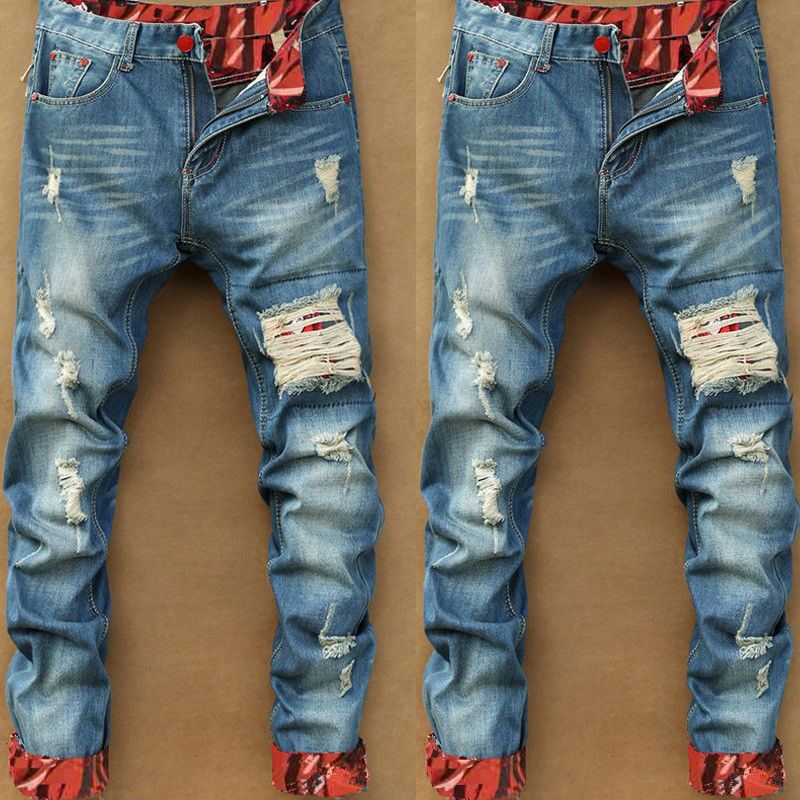 2019 New Ripped Jeans For Men Distressed Straight Strech Causal Vintage Jeans Homme Blue Slim Fit Streetwear Male Denim Pants