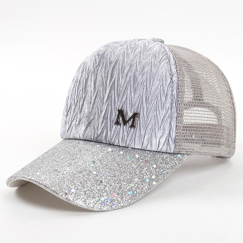 2018 New Pattern Tide Fold M Mark Outdoors Summer Splice Baseball Cap For Women Lace Net Adjustable Snapback Hat Trucker Cap
