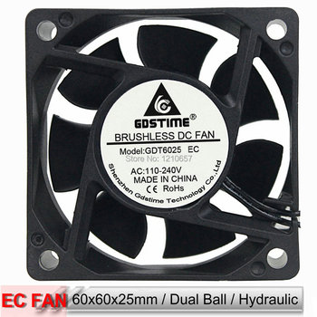 Gdstime 60mm 6cm 60x60x25mm Hydraulic Dual Ball Bearing AC 110V 120V 220V 240V EC Cooling Fan ac fan s254ap 11 2 3 110v sinwan 3 wire 25489 cooling 620470cfm 19001450 rpm