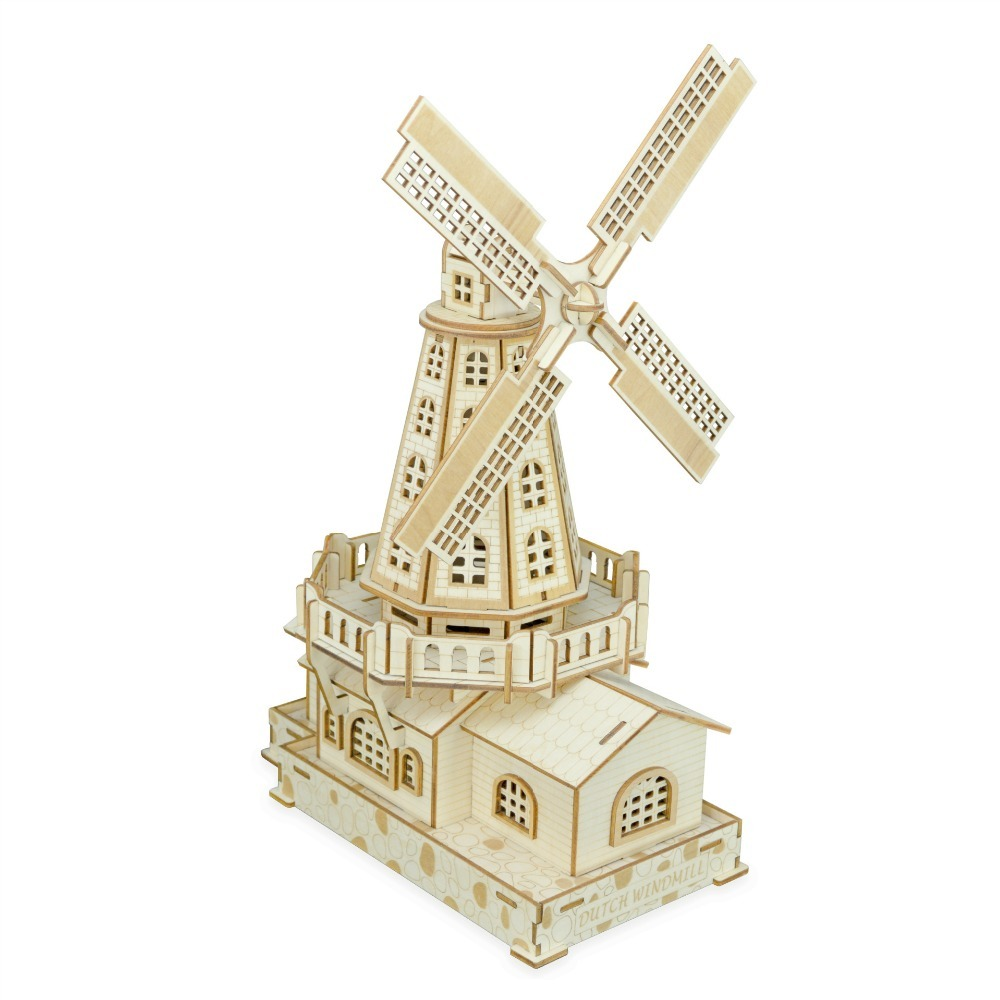Nulong Laser Cutting 3D Wooden Puzzle 3D wood Jigsaw Puzzle Woodcraft Assembly Kit Dutch Windmill with 127 pcs Parts