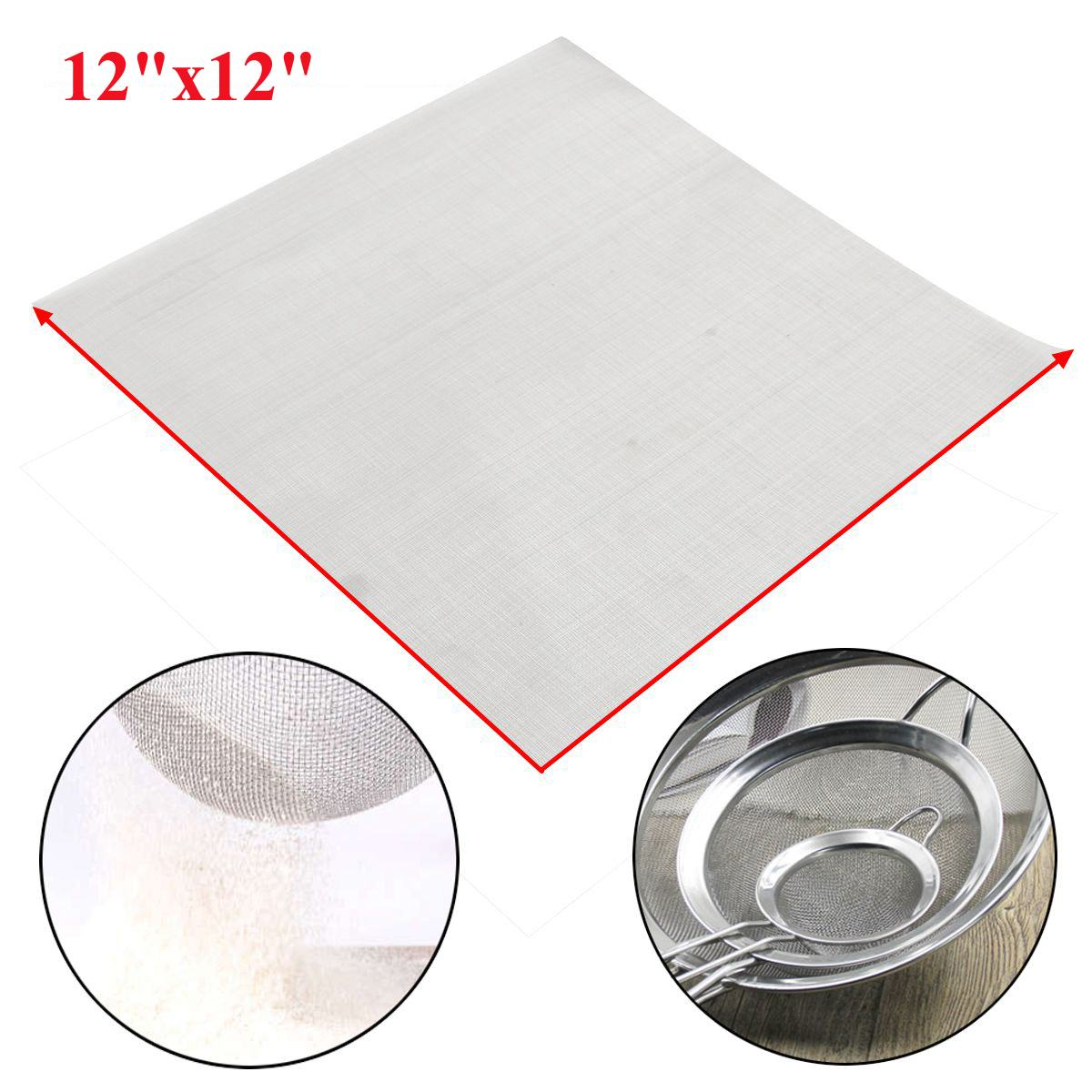 NEW 140 Mesh Filtration 110 Micron Stainless Steel Silver Woven Wire Cloth Screen Dry Sift Sieve 12''x12'' For Industrial Tools