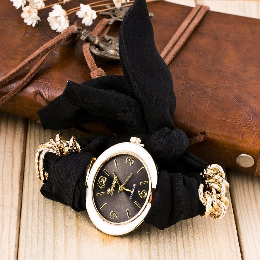 Fashion Clock Women Bracelet Watches Lady Fabric Bowknot Quartz Wrist Watch Woman Top Brand GENEVA Watch Relogio Reloj #N 4