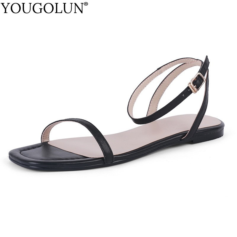 Flat Sandals Shoes Ankle-Strap Comfortable Black White Genuine-Leather Women Summer Ladies