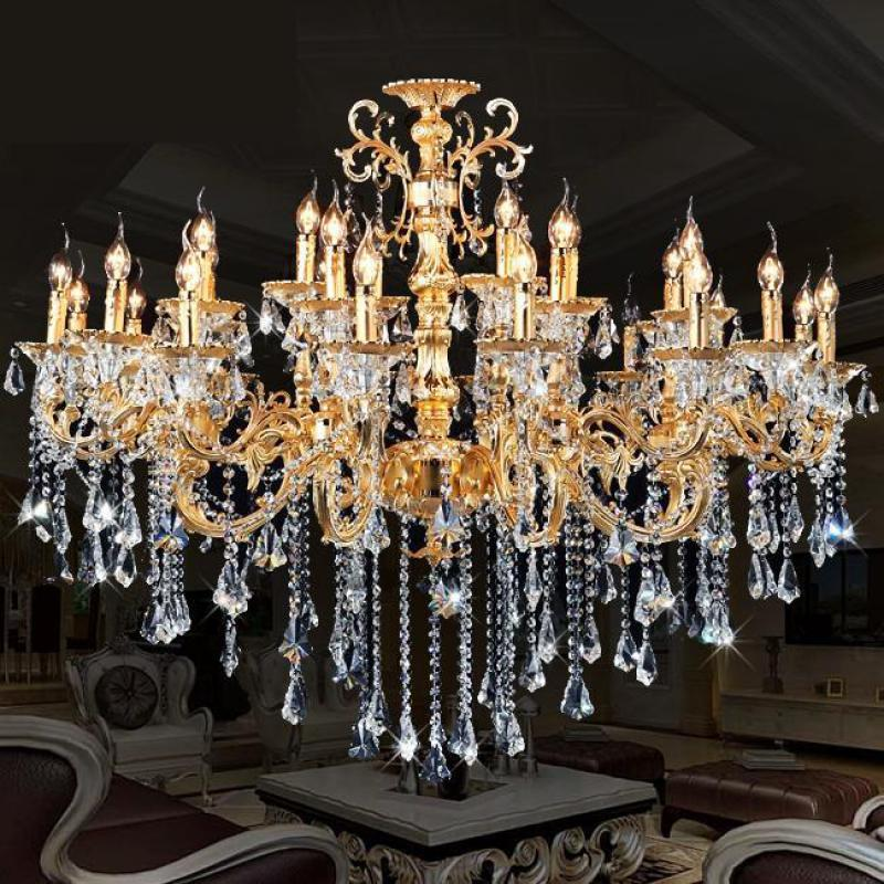 project 24 arm gold candle chandelier crystal pendant lustre de cristal for Hotel living room Large Led Crystal hanging lamp
