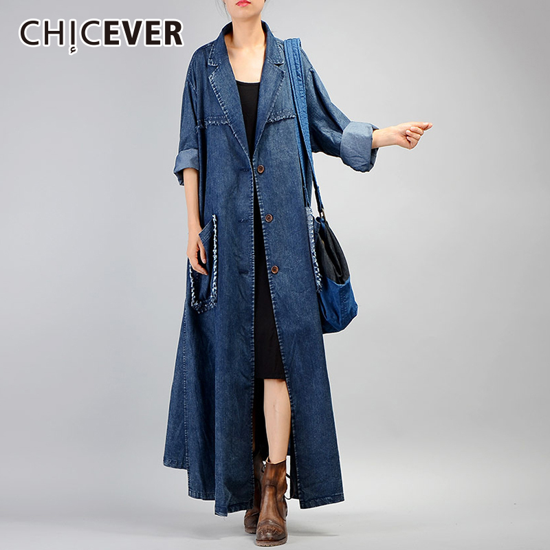 CHICEVER Autumn Denim Trench Coat For Women's Windbreaker Long Sleeve Two Pockets Loose Oversize Coat Female Fashion Clothing