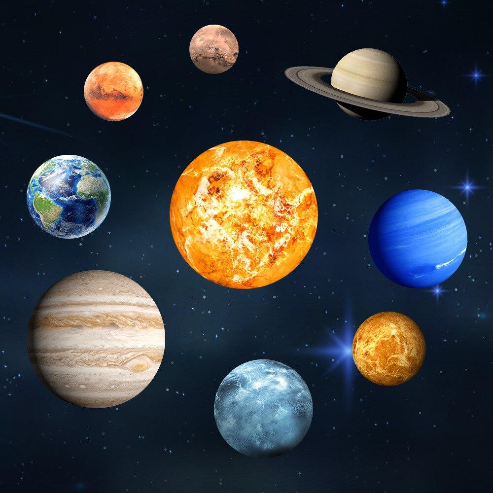 9 pièces Lumineuse Papier Peint Neuf Planète Maison Décoration stickers muraux pour enfants chambres salon 3D Système Solaire Neuf Planètes
