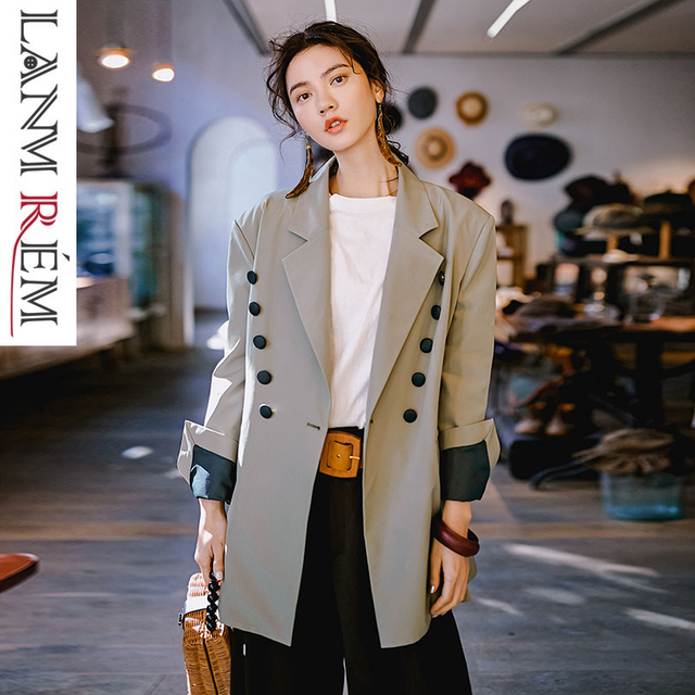 LANMREM 2019 New Niche Fashion OL Blazers For Women Spring Female's Notched Long Sleeve Contrast Color Casual Jacket YG61402