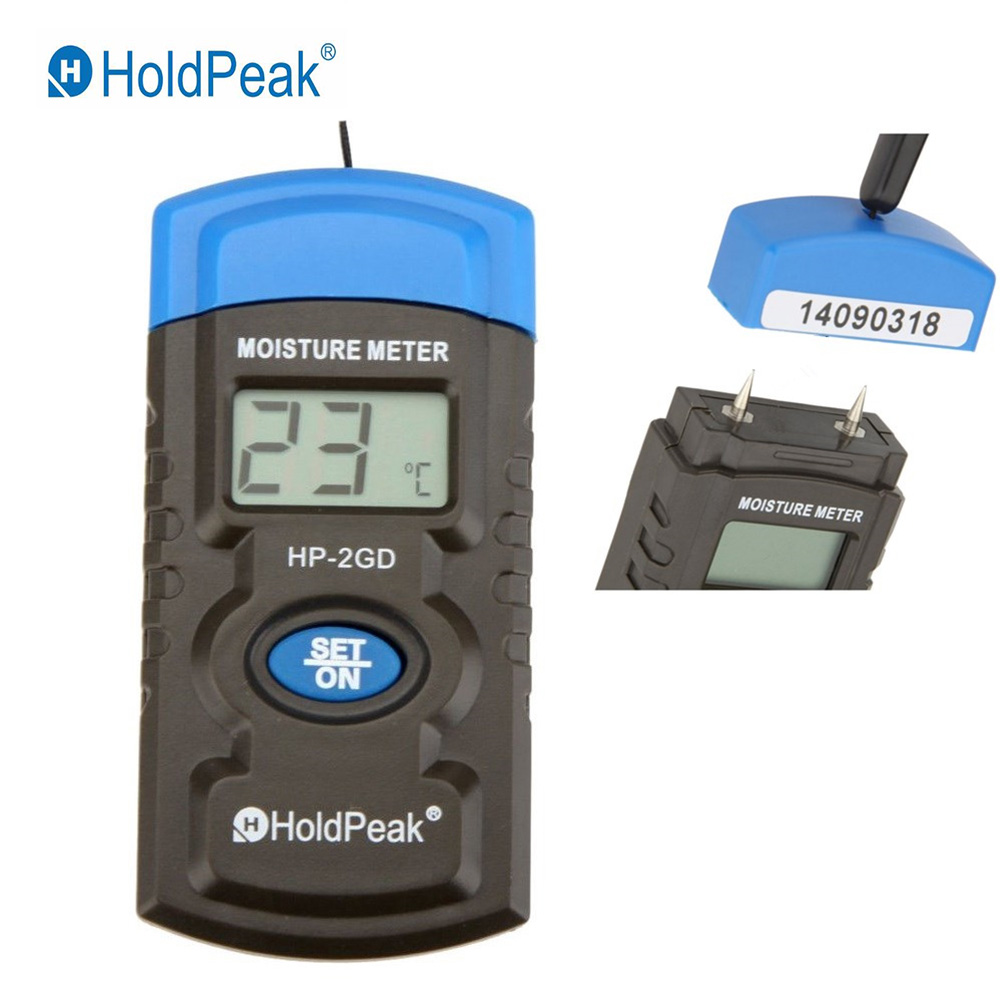 Holdpeak Hp-2gd 3-in-1 Zwei Pin Mini Digital Holz Feuchtigkeit Meter Holz Feuchtigkeit Tester Holz Damp Detector Mit Große Lcd Display Feuchtigkeit Meter