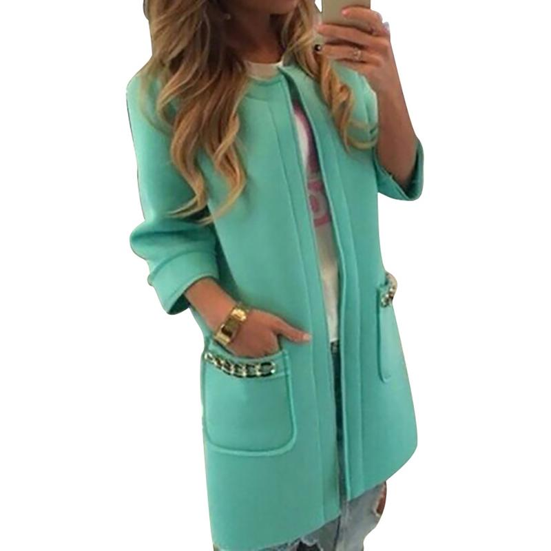 2018 New Fashion Women Winter Warm Long   Trench   Coat Female Stylish Solid Long Slim Overcoats Outwears Clothes