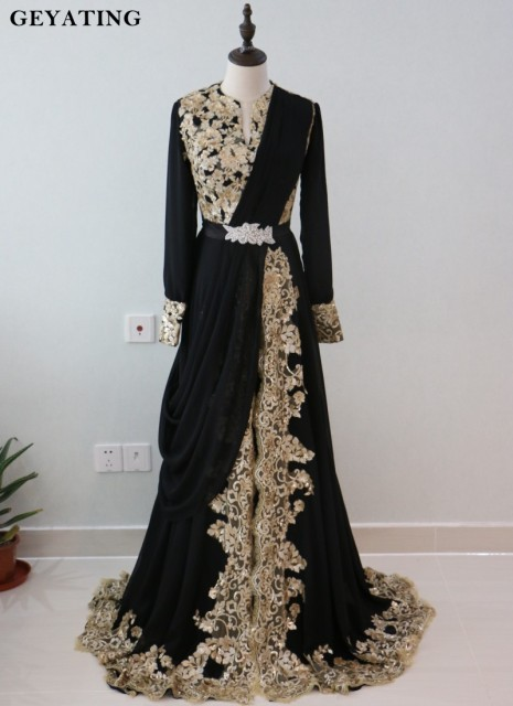 193f6d968f377 Robe de soiree 2019 Black Long Sleeve Dubai Kaftan Evening Dress Gold Lace  Appliques Sequined Arabic Prom Dresses Formal Gowns
