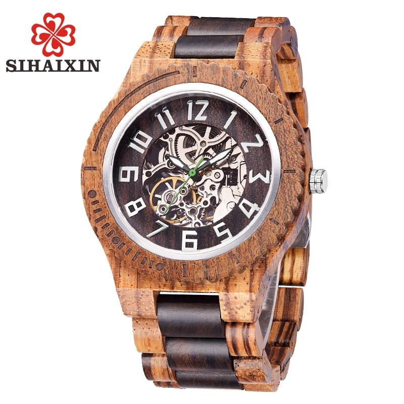 SIHAIXIN 自動腕時計男性用ウッドビジネススポーツ発光時計男防水スケルトン木製腕時計レロジオ masculino A22  グループ上の 腕時計 からの 機械式時計 の中 1