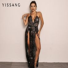 5949a376fa03 Yissang 2018 Sexy Red Black Sequin Women Jumpsuit Summer Hight Seplit  Rompers Hollow Out Long Sleeve V Neck Playsuit Overalls