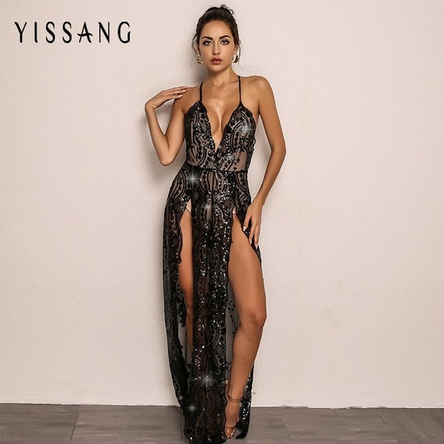 2c232e000b5 Yissang 2018 Sexy Red Black Sequin Women Jumpsuit Summer Hight Seplit  Rompers Hollow Out Long Sleeve V Neck Playsuit Overalls