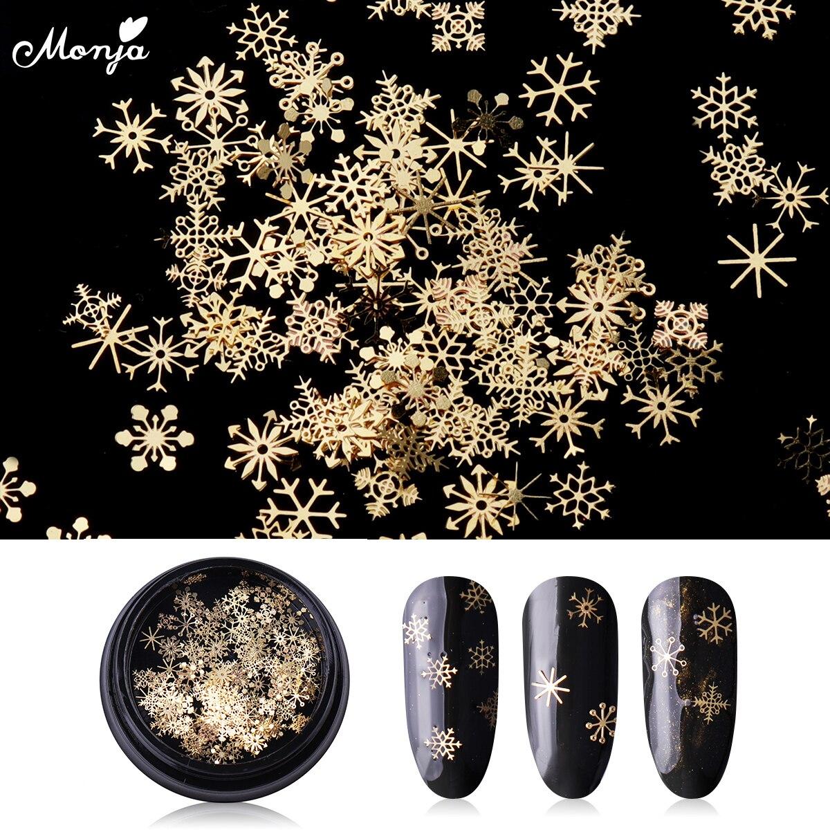 Monja 4 мм металлический дизайн ногтей Рождество золото блестящая Снежинка хлопья ломтик блестки смешанные наклейки DIY 3D маникюрные украшения