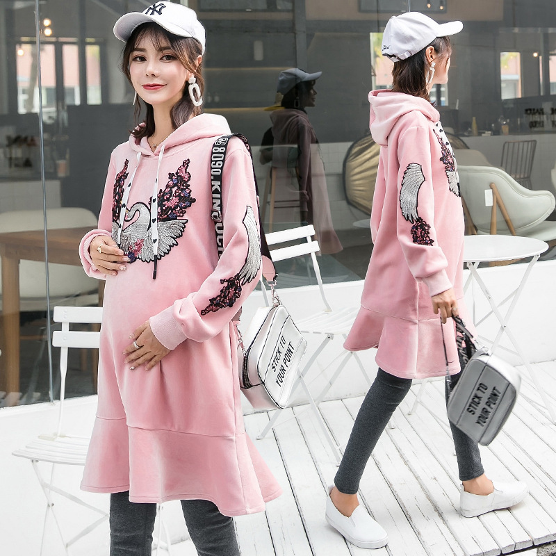 Winter Pregnancy Clothes For Pregnant Women Embroidery Maternity Dress Long Sleeve Soft Blouse Vestidos Pregnancy Clothes