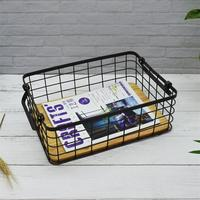 Metal Wire Iron Art Storage Basket Kitchen Bedroom Sundries Snacks Organizer Basket Black Toiletry Collection Bathroom Shelf