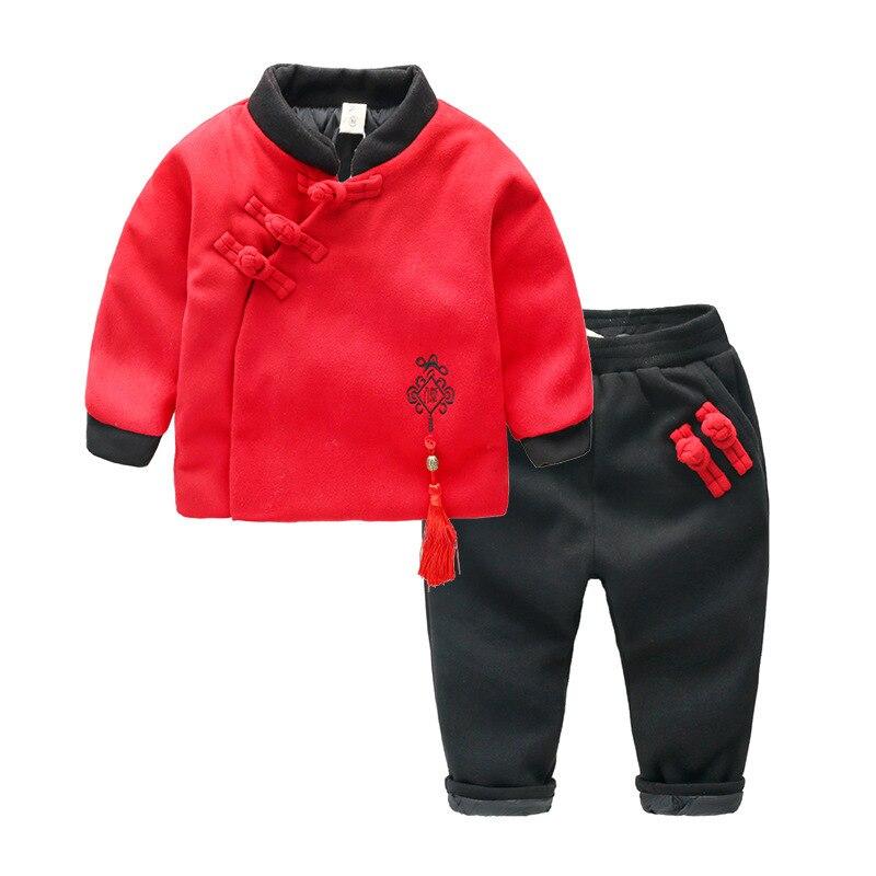 Vestuário infantil Inverno Terno Novo Bebê Traje Estilo Chinês Conjunto 2 pcs Roupas China Nó Da Criança Das Meninas Dos Meninos Inverno roupas 1-6