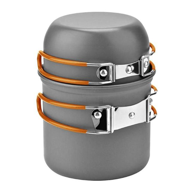 Outdoor Camping Cookware Set Marching Utensils Tableware Cooking Stove Kit Travel Pan Hiking Picnic Camping Tools for 1-2 Person 3