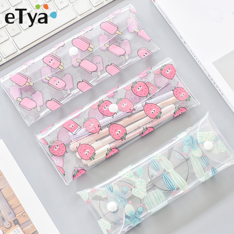 ETya Cartoon Cute Transparent PVC Pencil Case Cosmetic Bags Quality Makeup Brush Pouch School Gift Pencilcase Cute Pencil Box
