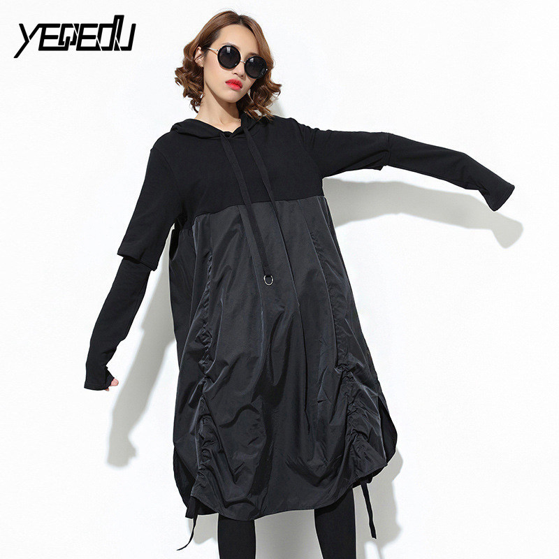 1053 2019 Spring Big size Hooded Patchwork Side drawstring Dress women Big hem Split joint Fashion dresses Tide