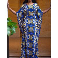 Fashion Printed Plus Size Party Long Dress Summer Sexy Bodycon Blue Elegant Robe Batwing Sleeve Big Sizes African Dresses Female
