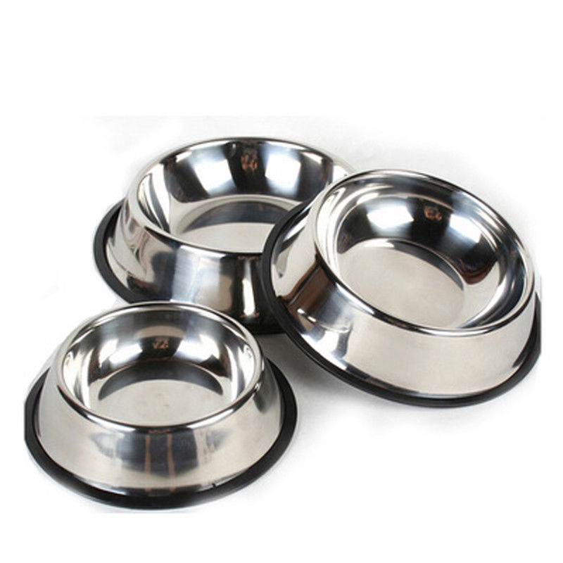 Stainless Steel Puppy Dog Feeder Feeding Foods Water Dish Bowl For Pet Dog Cat P