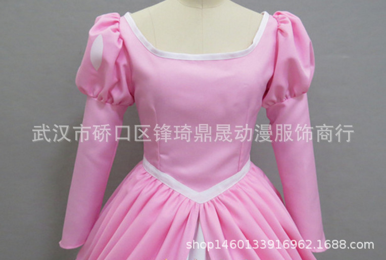 The Little Mermaid Ariel Princess Cosplay Pink Fluffy Party Fancy Dress Costume
