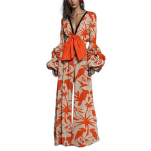 Women Wide Leg Flower Print Jumpsuit Sexy Long Deep V Neck Romper