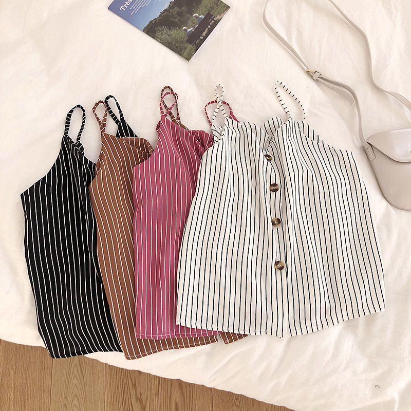 2019 Summer New Korean Chic Stripe Camis with Buttons Female Summer   Tops   Vintage   Tank     Top