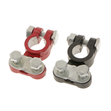 1 Pair  Alloy Positive & Nagative Car Battery Terminal Clamp Clips Connector 1 pair car battery terminal insulation clamp clips protection protector sleeve covers pvc 62 30 25mm black red