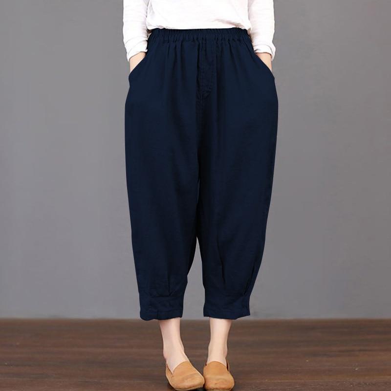 2019 Women Pockets Plain Loose Trousers Elastic Waist Harem   Pants   Cargo Baggy Cotton Linen Pantalon Plus Size