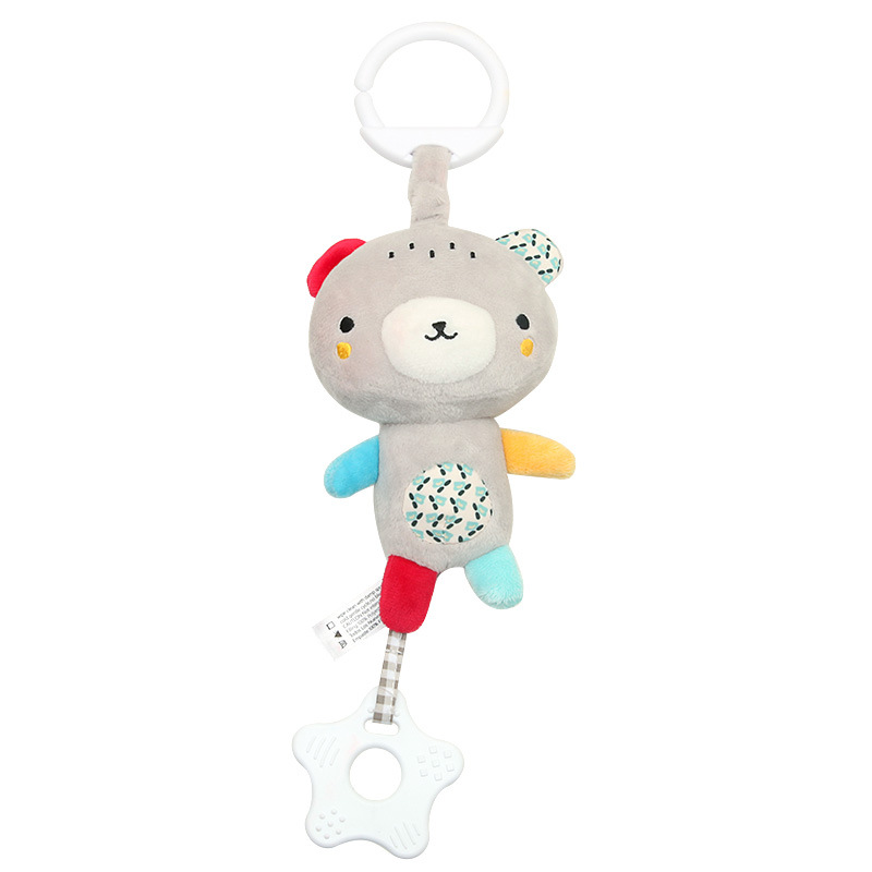 Bed Stroller Holder Cartoon Bell Mobile Plush Kids Crib Bed Hanging Misic Bells With Teether Toys Multi function Infant Baby in Baby Rattles Mobiles from Toys Hobbies