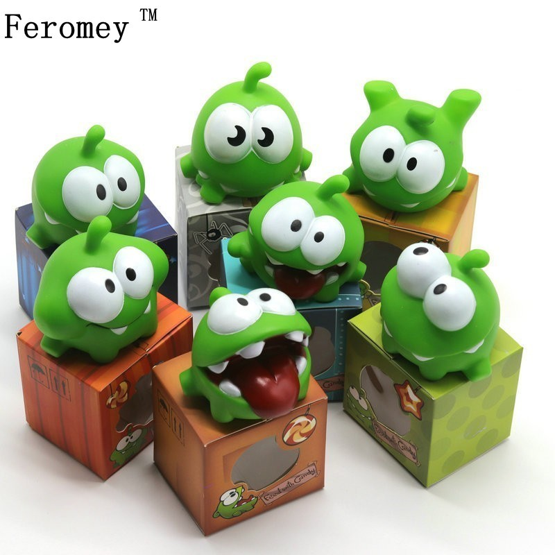 1 pièces corde grenouille vinyle caoutchouc Android jeux poupée couper la corde OM NOM bonbons Gulping monstre jouet Figure bébé BB bruit jouet